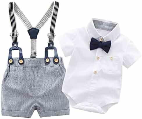 c86eb6425 Newborn Baby Boys Gentleman Outfits Suits, Infant Short Sleeve Shirt+Bib  Pants+Bow