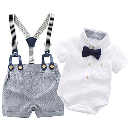 Newborn Baby Boys Gentleman Outfits Suits, Infant Short Sleeve Shirt+Bib Pants+Bow Tie Overalls Clothes Set ,18-24M White