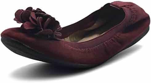 8d2d195db Ollio Women's Shoes Faux Suede Decorative Flower Slip On Comfort Light  Ballet Flat