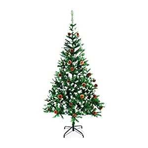 ALEKO CTPC71H17 Artificial Holiday Christmas Tree Snow Dusted Premium Pine with Stand and Pine Cones 6 Foot Green and White 8