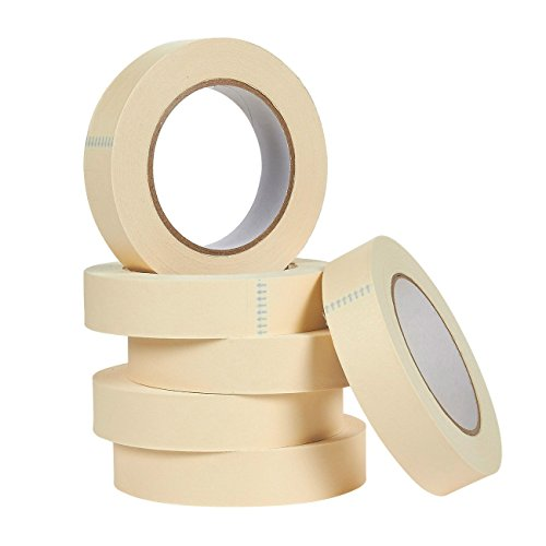 6 Pack Masking Tapes – All-Purpose Multi-Surface Adhesive Tape for Marking, Decoration, Painting, Labeling, Crafts and More, 1 Inch x 55 (All Purpose Masking Tape)
