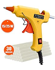 Hot Glue Gun, TopElek 15W/25W Dual Power Mini Glue Gun with Sticks(30pcs,7mm), High Temperature Melt Glue Gun for DIY Arts & Crafts, Hobby, Wood, Fabric, Decorations/Gifts Use, Quick Repairs