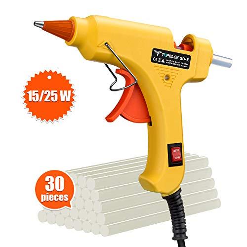 Hot Glue Gun, TopElek 15W/25W Dual Power Mini Glue Gun with...