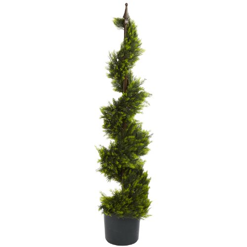 Nearly Natural 5324 Cypress Spiral Silk Tree, 4-Feet, Green