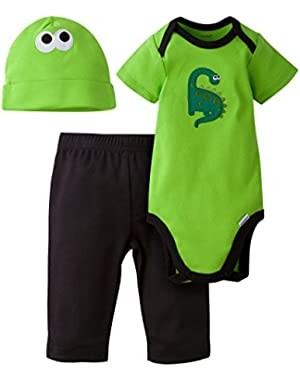 Clothing Baby Boy 3 Piece Bodysuit, Cap, and Pant Clothes Set