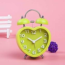 GOPG Cute Heart-Shaped Alarm Lazy Bug Alarm Clock Table Bedroom Bedside Electronic Clock -Green