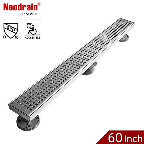Neodrain 60-Inch Linear Shower Drain with Quadrato Pattern Grate, Professional Brushed 304 Stainless Steel Rectangle Shower Floor Drain Manufacturer,Floor Shower Drain With Leveling Feet,Hair Strainer