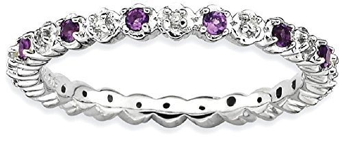 ICE CARATS 925 Sterling Silver Purple Amethyst Diamond Band Ring Size 7.00 Stone Stackable Gemstone Birthstone February Fine Jewelry Gift For Women Heart by ICE CARATS