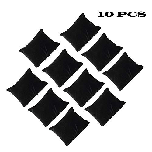 sansheng 10PCS Velvet Bracelets/Watch Pillow Jewelry Exhibition - Black (Upgraded Version)