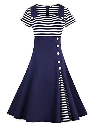 Wellwits Women's Vintage Pin Up A Line Stripes Sailor Dress Navy XL -