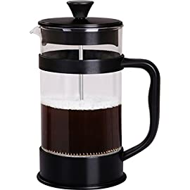 Utopia Kitchen French Coffee Press 34 Oz - 1000 ml - Black - Espresso and Tea Maker with Triple Filters, Stainless Steel… 1 Brews 8 coffee cups or about 4 coffee mugs which is equal to 32 Oz; includes a plastic measuring spoon Durable heat resistant borosilicate glass carafe beaker sits in a stylish insulated plastic frame which makes pouring coffee easier and prevents wobbling Easier to use than a drip coffeemaker; brews within minutes and no soggy filters to deal with