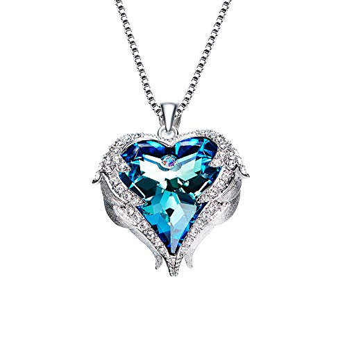 CLÉMENT & HILTON Angel Wing Blue Love Heart Crystal Pendant White Gold Plated Necklace for Women Girls