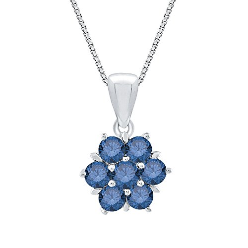 Blue Diamond Floral Pendant Necklace in 14K White Gold (3/4 ()
