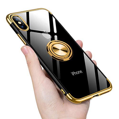 iPhone XS ケース/iPhone X ケース リング 透明 クリア リング付き tpu シリコン メッキ加工 スリム 薄型 5.8インチ スマホケース 耐衝撃 米軍MIL規格取得 ストラップホール 黄変防止 一体型 人気 携帯カバー ゴールド