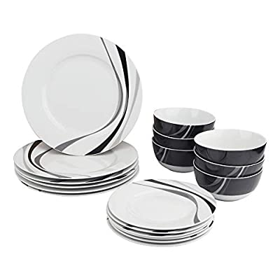 AmazonBasics 18-Piece Kitchen Dinnerware Set, Plates, Dishes, Bowls, Service for 6, Swirl - 18-piece dinnerware set; service for 6; includes 6 each: 10.5-inch dinner plate, 7.5-inch salad plate, and 5.5-inch bowl AB-grade porcelain for everyday use; lightweight yet durable Elegant modern design for easy coordinating with existing tableware and décor - kitchen-tabletop, kitchen-dining-room, dinnerware-sets - 41hE9ji0C8L. SS400  -