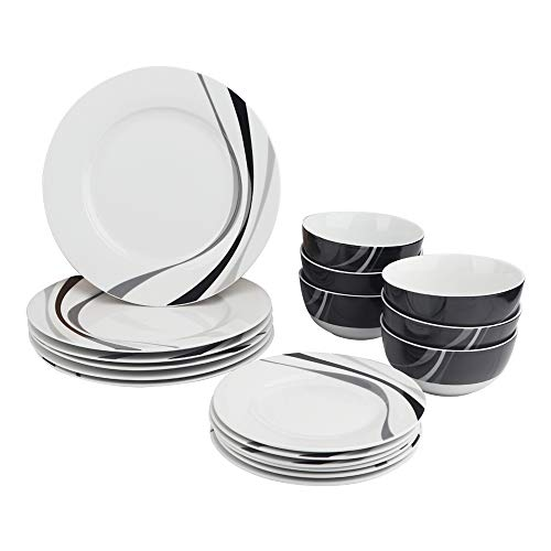 AmazonBasics 18-Piece Kitchen Dinnerware Set, Dishes, Bowls, Service for 6, Swirl (Bowl Set And Black Plate)