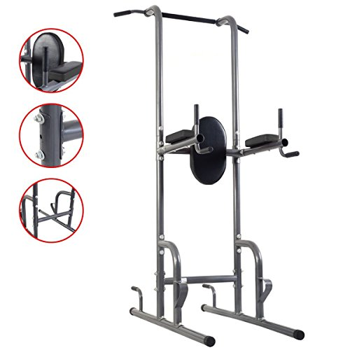 Goplus Chin Up Tower Rack Pull Up Weight Stand Bar Leg Raise Workout Resistant Home Gym