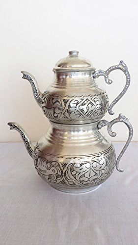 Handcrafted Turkish Copper Tumbled Inlaid Ottoman Antique Handmade Teapot Kettle