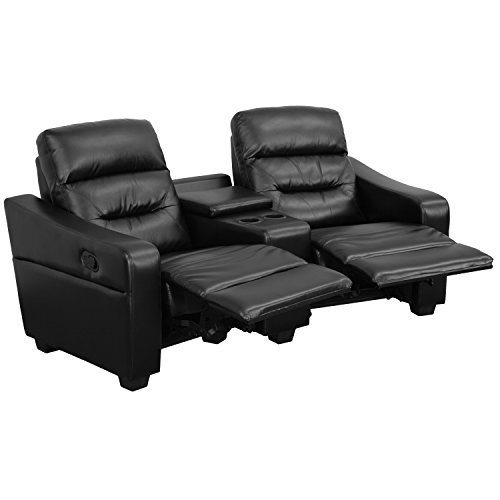 (Flash Furniture Futura Series 2-Seat Reclining Black Leather Theater Seating Unit with Cup Holders)
