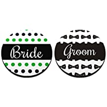 Wedding Gift Bride and Groom Wedding Coaster 4 Pack Round Rubber Drink Cup Coasters Polka Dot