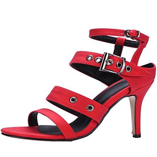 Azbro Mujer Sandalias de Tacón Alto Slingback Correas con Puntera Abierta Rojo