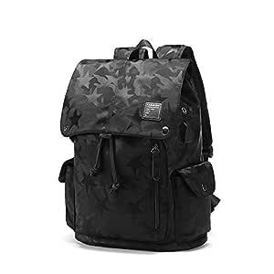 Men's Casual Soft Pu Leather Camo Backpack Travel Drawstring Closure Messenger Backpacks Student School Bag Bookbag Laptop Shoulder Bags