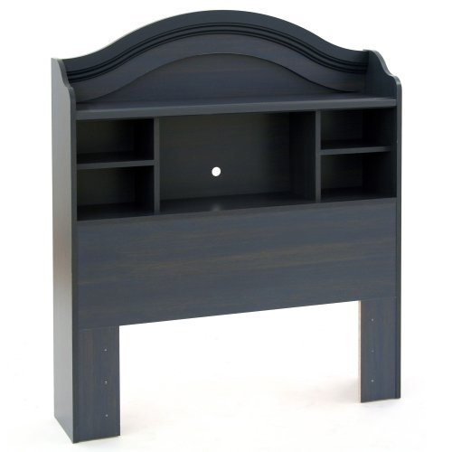- Swag Pads Twin Size Arch Top Bookcase Headboard in Dark Blueberry Finish