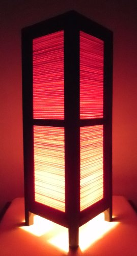 Thai Wood Lamp Handmade Oriental Red Bamboo Bedside Table Lights or Floor Home Decor Bedroom Decoration Modern - Table Bamboo Antique