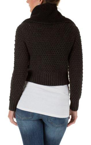 Vero Moda Damen Strickjacken ISSY LS TEDDY CARDIGAN dark grey melange/with black acIMkfQnb