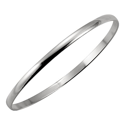 Women's 925 Solid Silver Classic Hoop Bangle Bracelets - 7