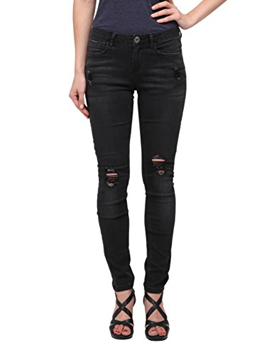 Allee Jeans Women's Distressed Black Skinny Jeans Mid-Rise Waist (Dahlia) - Black Distressed