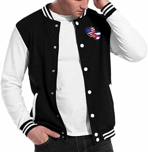 HEFASDM Mens Hooded Movement Baseball Jackets Zip-up Sweatshirt Hoodies