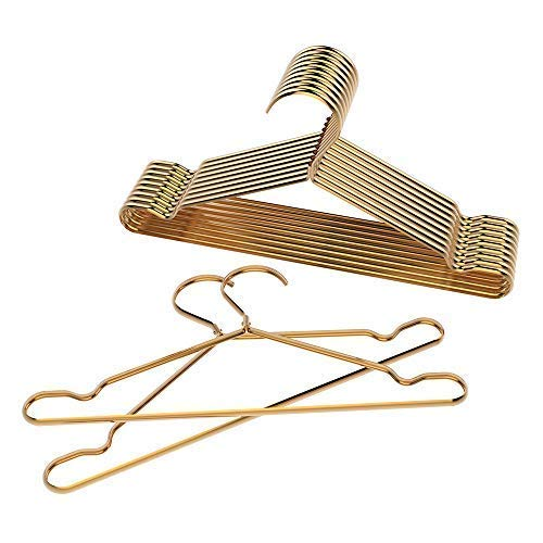ShinyMax Gold Coat Hangers Standard Clothes Hangers with Notches Decorative Metal Hangers with Bar Non Slip Anti-Rust Heavy Duty Hangers Ideal for Suits Garments Sweater Shirts,10 Pack,42CM