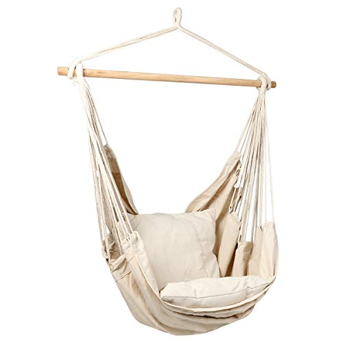E EVERKING Hanging Rope Hammock Chair Swing Seat with Two Seat Cushions and Carrying Bag, Cotton Weave Porch Swing Chair for Indoor, Outdoor, Garden, Patio, Porch, Yard, Max 265 Lbs (Garden Swing Seats)