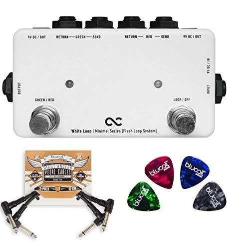 (One Control White Loop Pedal Effects Switcher Bundle with 2-Pack of Blucoil Pedal Patch Cables and 4-Pack of Celluloid Guitar Picks)