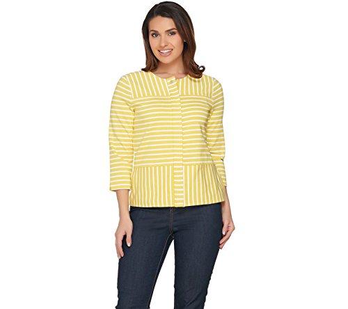 C. Wonder Mixed Stripe Zip Front 3/4 Sleeve Knit Jacket Citron 14 New (3/4 Sleeve Zip Jacket)