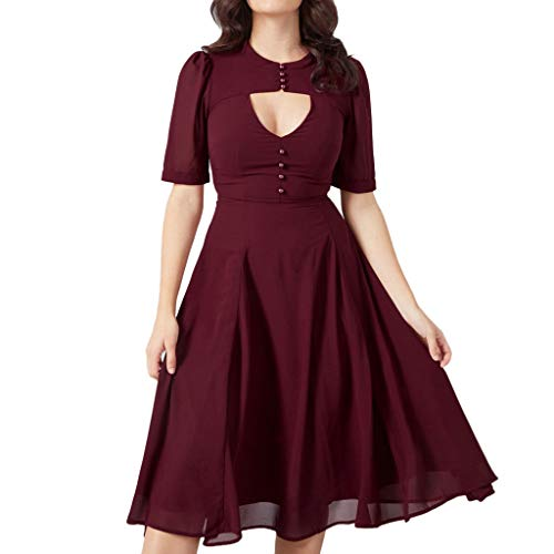 Plus Size Short Sleeve Dress Women Casual Slim Ruched Tunic Dress Hollow Out Wine Red