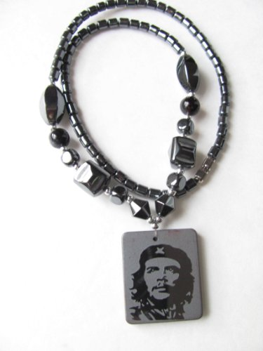 Healing Hematite Necklace with Che Guevara Pendant Available with Tigereye, Black Crystal, Moonstone or Turquoise Beads (Black) (Eye Tiger Barrel)