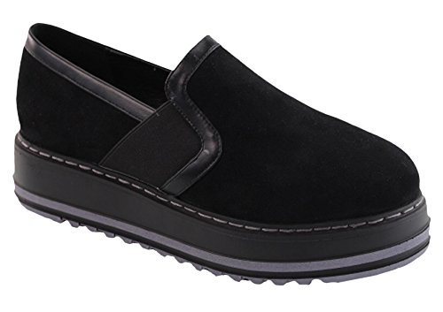 Dbdk Dames Slip Op Stretch Platform Klimplant Loafer Zwart