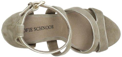 Sofie Schnoor HIGH SUEDE SANDAL S131612 - Zapatos de pulsera de cuero para mujer Marrón (Braun (Taupe))