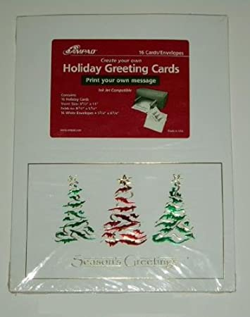 Amazon 16 ampad create your own holiday greetings cards 16 ampad create your own holiday greetings cards envelopes quotfestive treesquot m4hsunfo