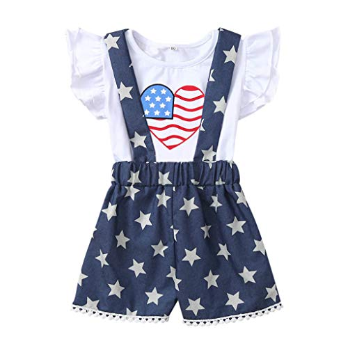 (Toddler Overall Outfits,Fineser Baby Girls Ruffles Heart Star Striped Printed 4th of July T-Shirt Overall Shorts Sets (White, 12-18 Months(80)))