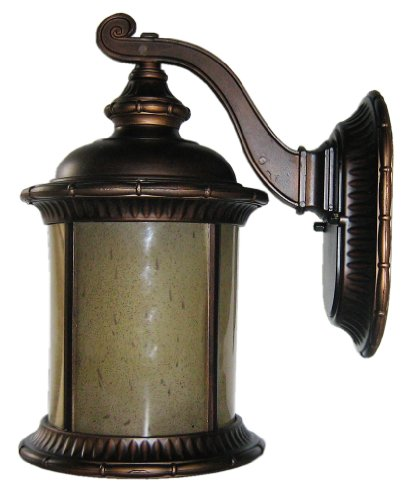 Whitfield OWL83AT-ORB Brayden 7-Inch One-Light Outdoor Light, Oil Rubbed Bronze with Autumn Teak Glass