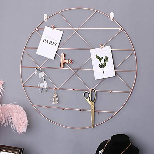 Simmer Stone Round Wall Grid Panel for Photo Hanging Display & Wall Decoration Organizer, Multi-Functional Wall Storage Display Grid with Hook, Size 23.6