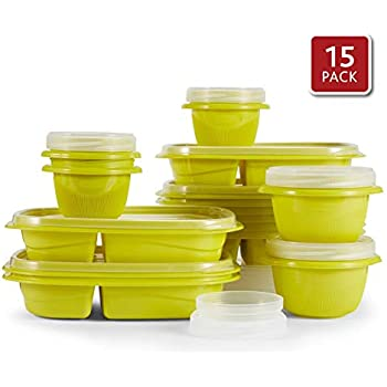 Rubbermaid TakeAlongs 2-Compartment Meal Prep and Food Storage Kit, 30 Pieces including Lids, BPA-Free Plastic, Citron