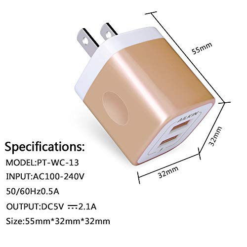 USB Charging Box, Charger Adapter, Ailkin 3-Pack 2.1Amp Dual Port Fast Charge Plug Cube Base for iPhone X/8/7/6S/6S Plus/6 Plus/6, Samsung Galaxy S7/S6/S5 Edge, LG, HTC, Huawei, Moto, Kindle and More by AILKIN (Image #2)