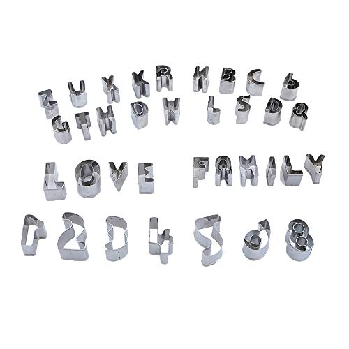 Cookie Cutter Mold, Mini Numbers Alphabets Letters, Stainless Steel, DIY Shape Biscuits Cakes Fruits Vegetables Dough, 36 PCS