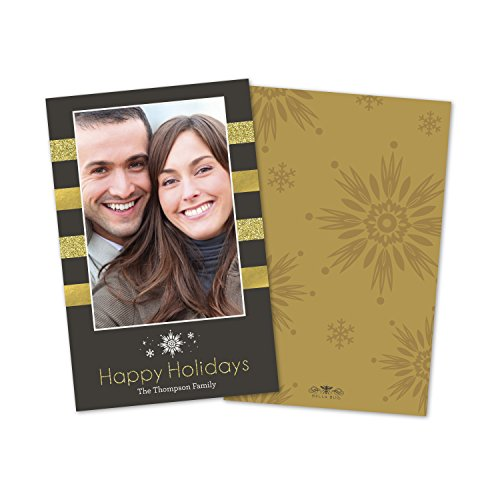 Personalized Holiday Gilded Stripes Photo Flat Card