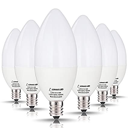 LOHAS E12 Bulb Candelabra Base LED, 60W Light Bulbs Equivalent(6W ...