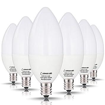 LOHAS Candelabra LED Bulbs, 60 Watt Equivalent-6W LEDs, Daylight ...